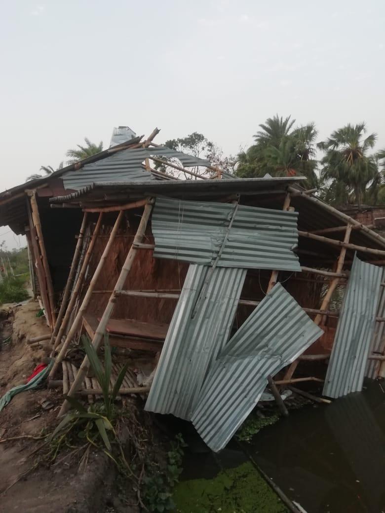 Ødelagte hus i Sundarbans